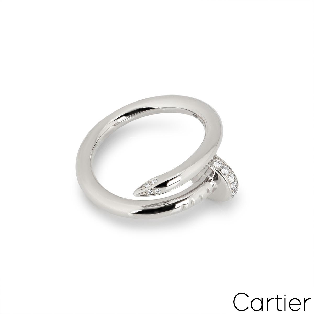 Cartier White Gold Diamond Juste Un Clou Ring Size 54 B4092700